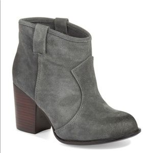 Splendid Suede Gray Stacked Heel Lakota Booties